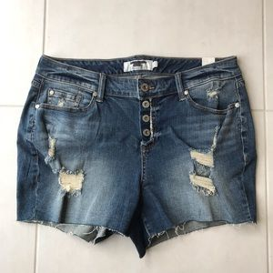 Torrid Distressed Button Fly Cut Off Shorts SH26